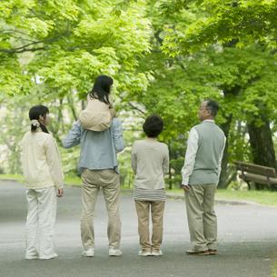 新緑の中に立つ3世代家族の後姿の写真素材 [FYI04545420]