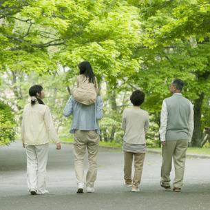新緑の中を歩く3世代家族の後姿の写真素材 [FYI04545422]