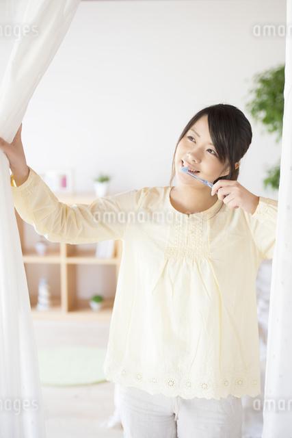 歯磨きをする女性の写真素材 [FYI04545612]