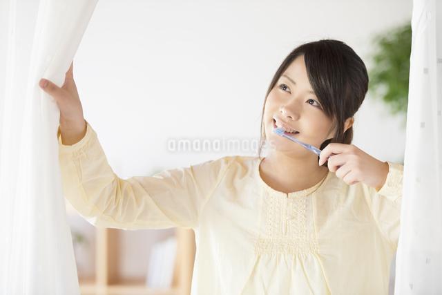 歯磨きをする女性の写真素材 [FYI04545613]