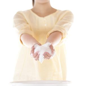 洗顔をする女性の手元の写真素材 [FYI04545643]