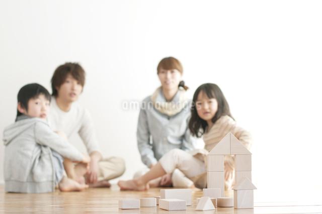 積み木で作った家と家族の写真素材 [FYI04547332]