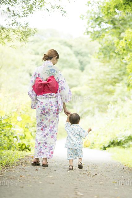 手をつなぐ親子の後姿の写真素材 [FYI04547451]