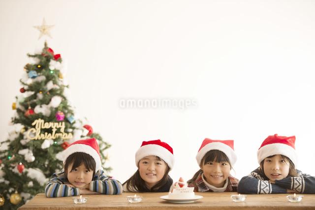 サンタ帽を被った子供達とクリスマスツリーの写真素材 [FYI04548005]