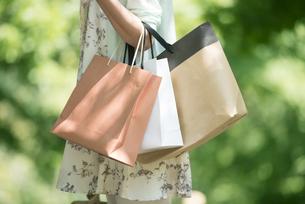 ショッピングバッグを持つ女性の手元の写真素材 [FYI04548418]