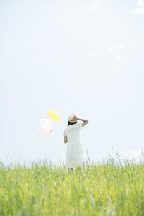 草原で風船を持つ女性の後姿の写真素材 [FYI04548479]