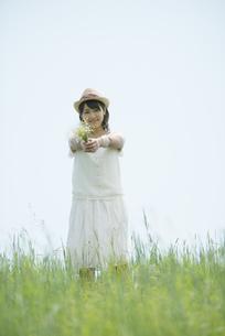 草原で野花を持ち微笑む女性の写真素材 [FYI04548510]