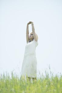 草原で伸びをする女性の写真素材 [FYI04548520]