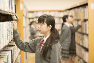 図書室で本を選ぶ女子学生の写真素材 [FYI04548669]
