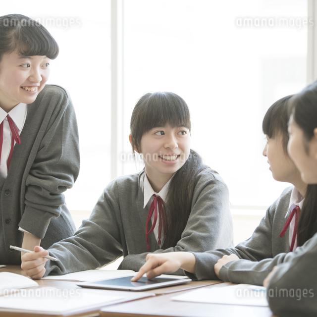 タブレットPCを使いグループ学習をする女子学生の写真素材 [FYI04548742]
