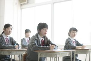 教室で授業を受ける女子学生の写真素材 [FYI04548789]
