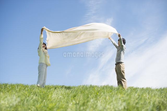 草原で布を広げるカップルの写真素材 [FYI04548804]