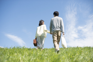 草原で手をつなぐカップルの後姿の写真素材 [FYI04548822]