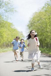 一本道を走る小学生の写真素材 [FYI04549079]