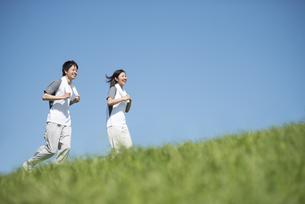 草原でジョギングをするカップルの写真素材 [FYI04549130]