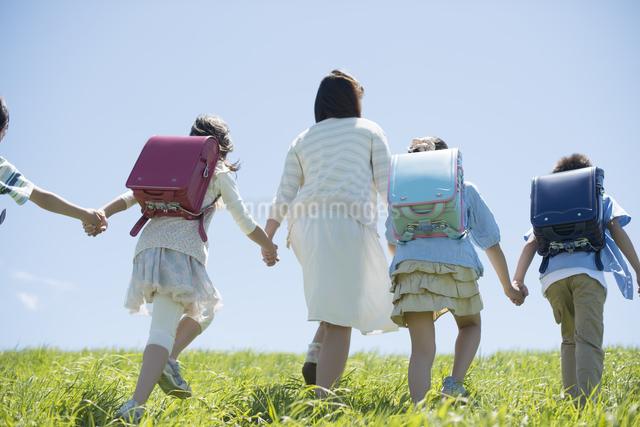 草原で手をつなぐ小学生と先生の後姿の写真素材 [FYI04549238]