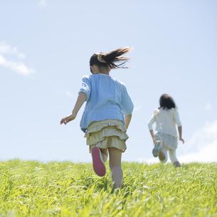草原を走る小学生の後姿の写真素材 [FYI04549269]