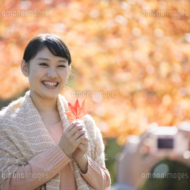 紅葉を持ち微笑む女性の写真素材 [FYI04549855]