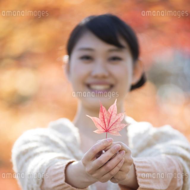 紅葉を持ち微笑む女性の写真素材 [FYI04549931]