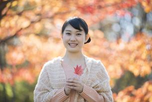 紅葉を持ち微笑む女性の写真素材 [FYI04549942]