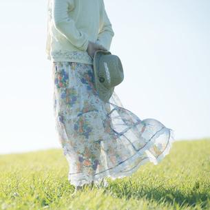 麦わら帽子を持つ女性の後姿の写真素材 [FYI04550024]