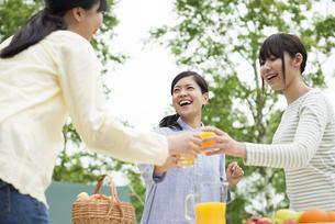 乾杯をする3人の女性の写真素材 [FYI04550399]