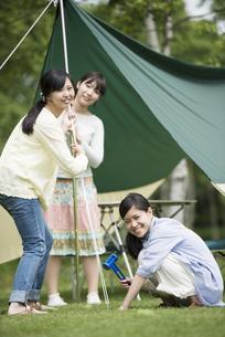 テントを組み立てる3人の女性の写真素材 [FYI04550486]