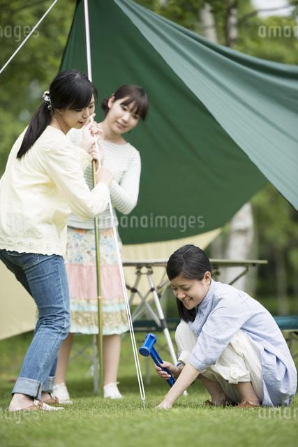 テントを組み立てる3人の女性の写真素材 [FYI04550487]