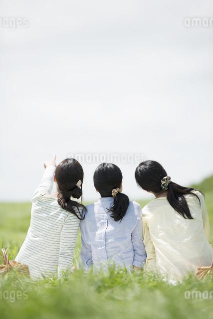 草原でピクニックをする3人の女性の後姿の写真素材 [FYI04550540]