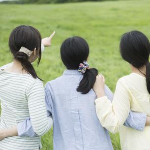 草原で腕を組む3人の女性の後姿の写真素材 [FYI04550606]