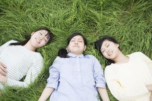 草原に寝転ぶ3人の女性の写真素材 [FYI04550607]