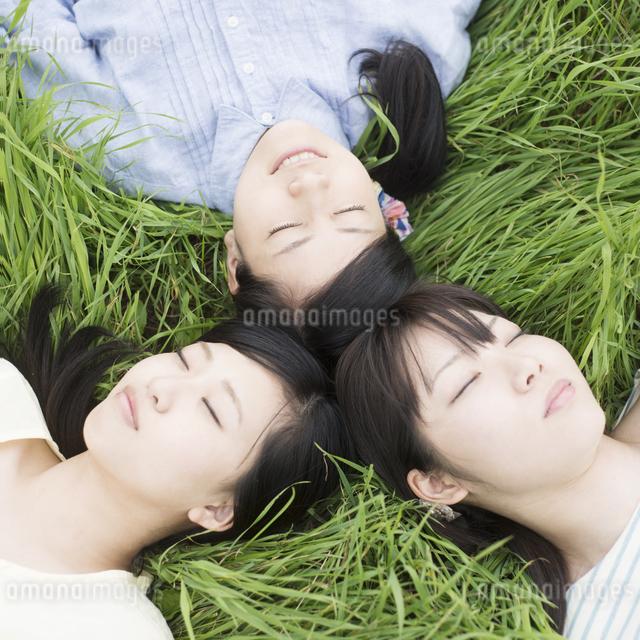 草原に寝転ぶ3人の女性の写真素材 [FYI04550616]