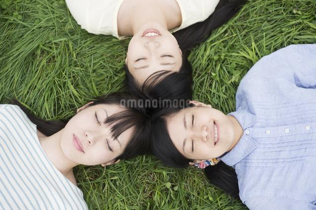 草原に寝転ぶ3人の女性の写真素材 [FYI04550624]