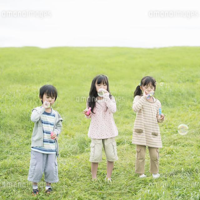 草原でシャボン玉をする小学生の写真素材 [FYI04550846]