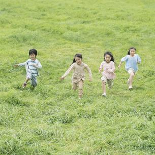 草原を走る小学生の写真素材 [FYI04550880]