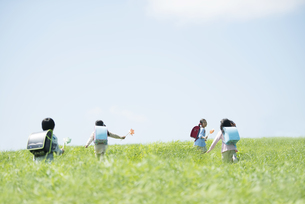 風車を持ち草原を走る小学生の写真素材 [FYI04550907]