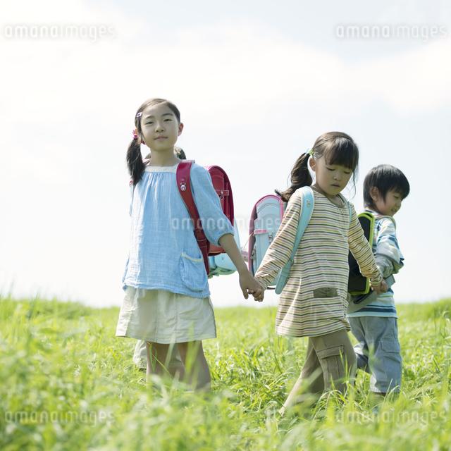 草原で手をつなぐ小学生の写真素材 [FYI04550919]
