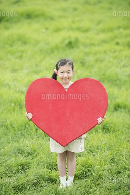 草原でハートを持ち微笑む女の子の写真素材 [FYI04551363]