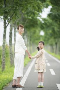 一本道で手をつなぐ親子の写真素材 [FYI04551404]