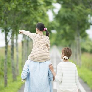 一本道で肩車をする親子の後姿の写真素材 [FYI04551420]