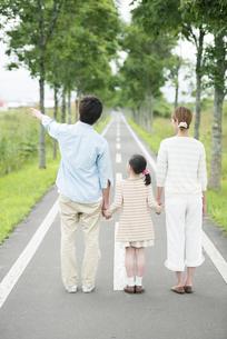 一本道で手をつなぐ親子の後姿の写真素材 [FYI04551436]