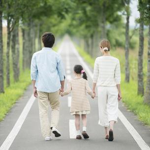 一本道で手をつなぐ親子の後姿の写真素材 [FYI04551443]