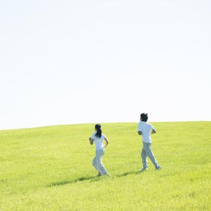 草原でジョギングをするカップルの後姿の写真素材 [FYI04551579]