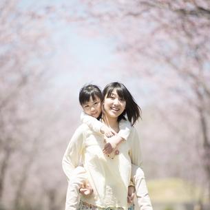 桜の前でおんぶをする親子の写真素材 [FYI04551769]