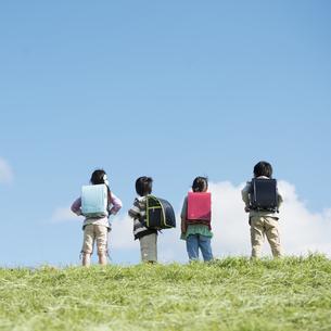 草原に立つ小学生の後姿の写真素材 [FYI04552054]