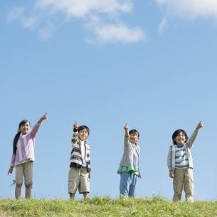 草原で空を見上げる小学生の写真素材 [FYI04552074]