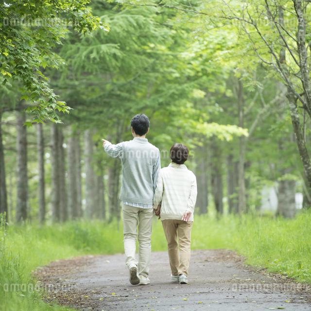 一本道を歩くシニア夫婦の後姿の写真素材 [FYI04552172]