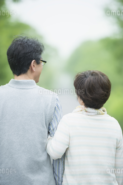 腕を組むシニア夫婦の後姿の写真素材 [FYI04552180]