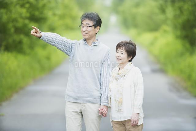 一本道で遠くを指差すシニア夫婦の写真素材 [FYI04552189]
