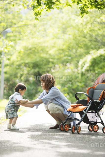 公園で子供と遊ぶ母親の写真素材 [FYI04552972]